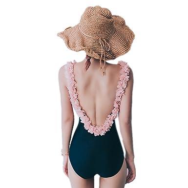 a4507037aace2 TOMORI Womens Backless One Piece Swimsuit 3D Flowers Jumpsuit Swimwear  Sleeveless Monokini (M, Black