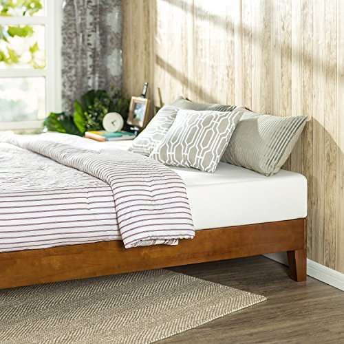 Zinus Wen 12 Inch Deluxe Wood Platform Bed / No Box Spring Needed / Wood Slat Support / Cherry Finish, Full