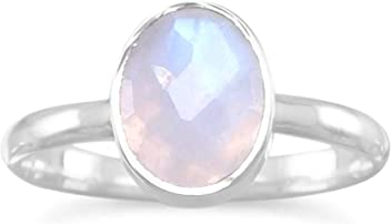 Sterling Silver Ring, 7x9mm Oval Rainbow Moonstone, Sizes 6-9, 3/8 inch