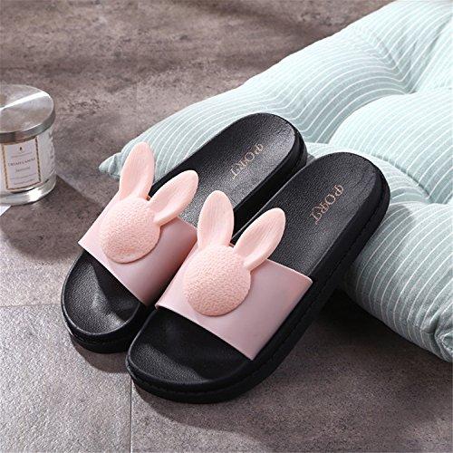 Rabbit Sweet Comfy Flat Women for beginning Slippers Sandals Auspicious Pink qwE6HC5n