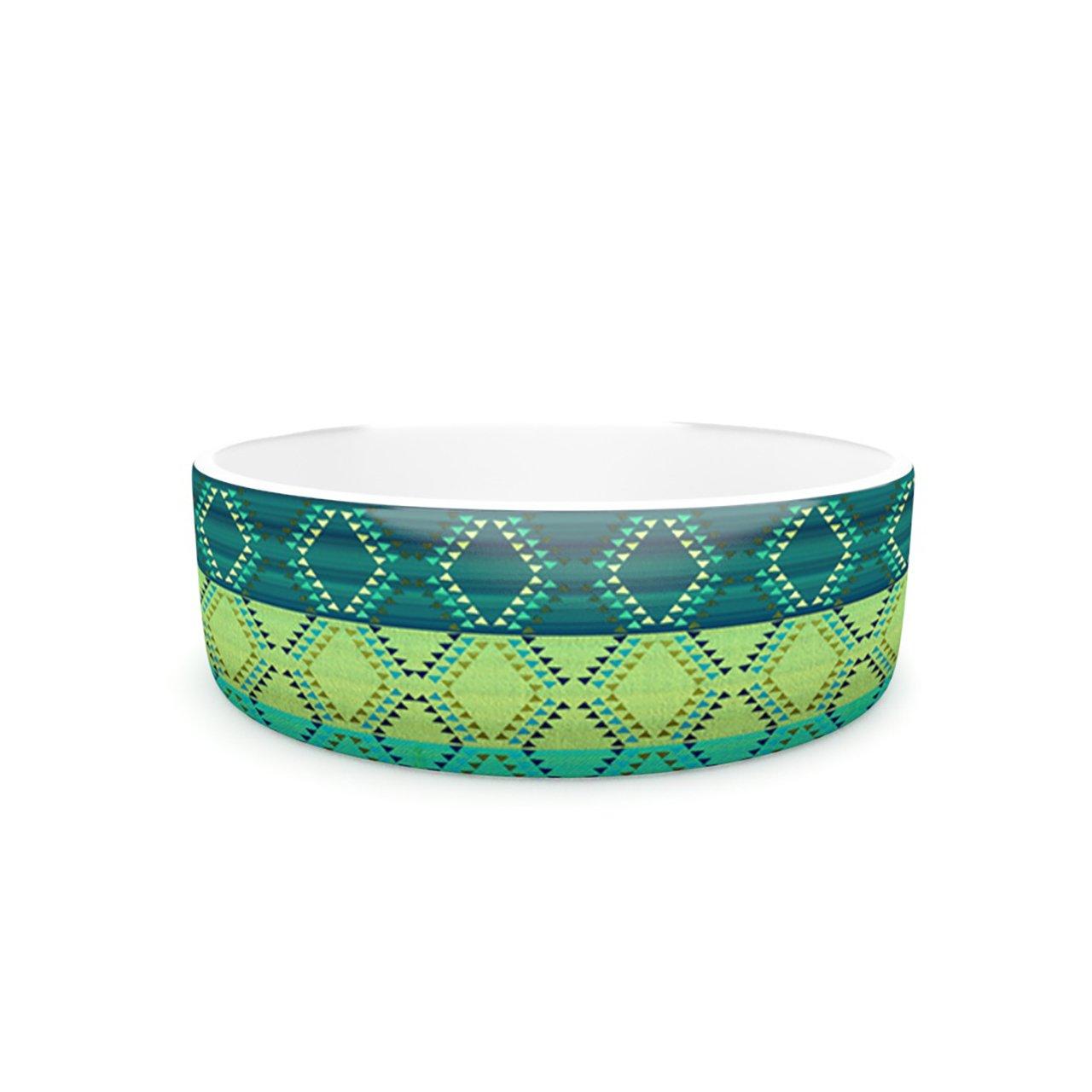Kess InHouse Nina May Denin Diamond Gradient Green  Pet Bowl, 7-Inch, Turquoise Emerald
