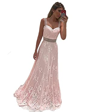 Graceprom Women\'s Light Pink Lace Prom Dress Sweetgeart Backless ...