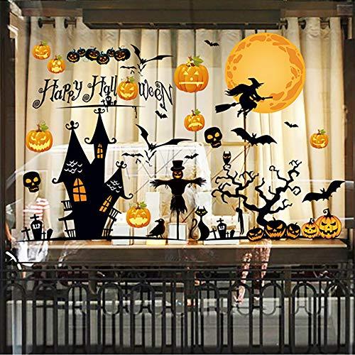 Happy Halloween Wall Decals Window Stickers Pumpkins Spooky Witch Bats and Skull Stickers for Door,Car,Wall,Window - Halloween Decorations 36