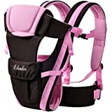ELENKER Porte-bébé Multifonctionnel avec 4 Façon de Porter Tissu Respirant Réglable Confortable Sangle(3-18KG,0-30Mois) Rosé