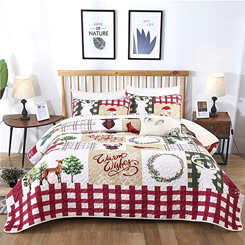 Christmas Quilt Set Rustic Christmas Santa Tree Snowman Pattern Printed Bedding Solid Quilted Bedspread Coverlet with 2 Pillow Shams for All Seasons, Soft Microfiber Quilt 90*90 inches (Queen, 3Pcs)