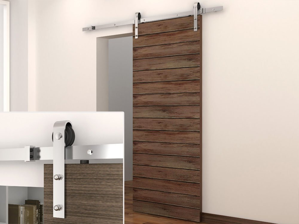 Merveilleux Amazon.com: TMS 6 Foot Stainless Steel Country Sliding Barn Wooden Door  Hardware Track Set: Home Improvement