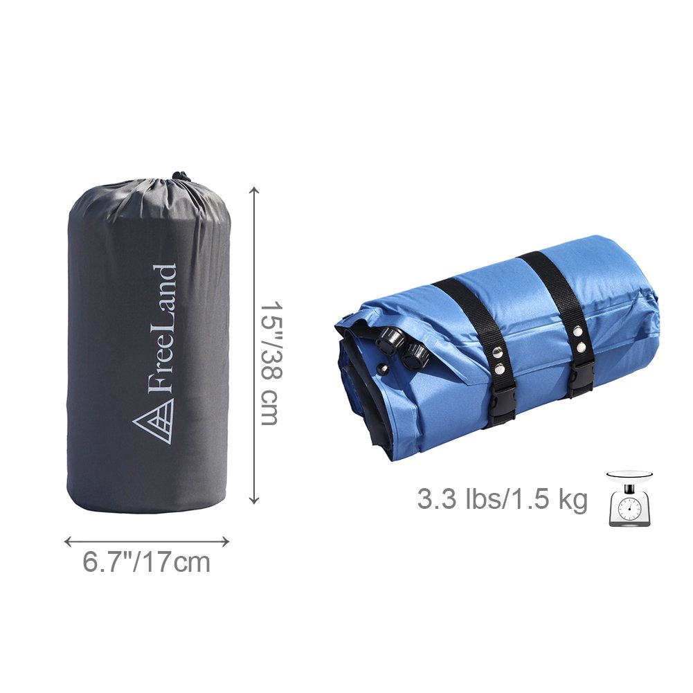 Large Dark Navy Blue Color Compact Freeland Camping Sleeping Pad Self Inflating with Attached Pillow Lightweight