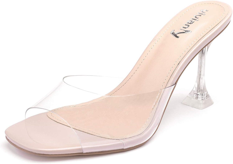vivianly Womens Clear Heels Sandals
