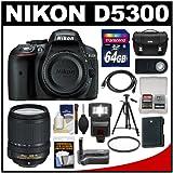 Nikon D5300 Digital SLR Camera Body (Black) with 18-140mm VR Zoom Lens + 64GB Card + Case + Flash + Grip + Battery + Tripod Kit, Best Gadgets