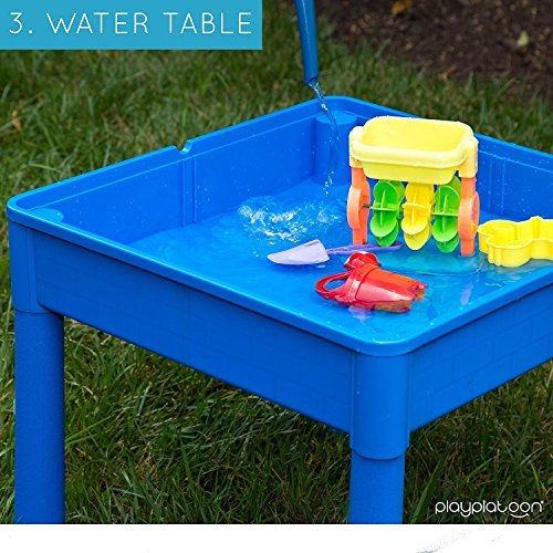Play Platoon Kids Activity Table Set - 3 in 1 Water Table, Craft Table Building Brick Table Storage - Includes 2 Chairs 25 Jumbo Bricks - Primary Colors by Play Platoon (Image #4)