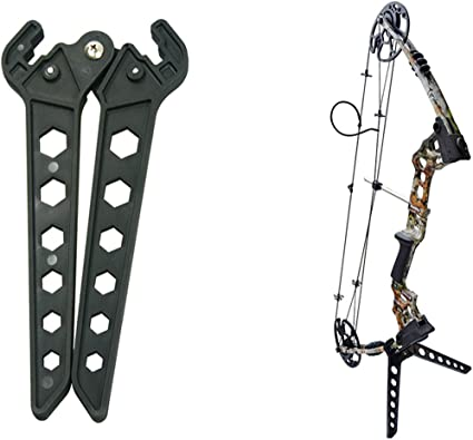 Archery Kick Stand quality Bow stand Holder spring Loaded in Black
