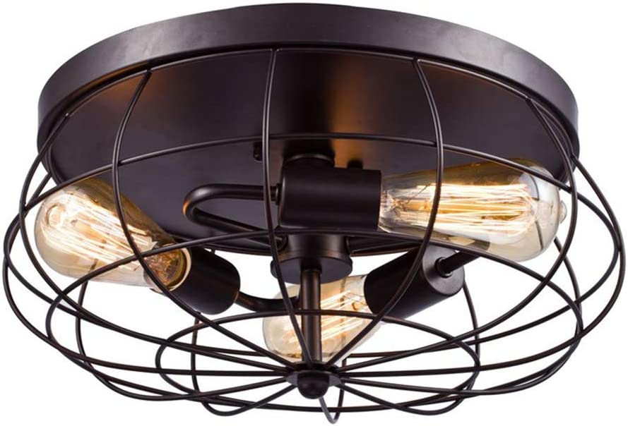 Semi Flush Mount Ceiling Light - BAYCHEER Vintage Pendant Lights Industrial Chandelier Black Metal Cage Hanging Fixture with 3 E26 Bulb Base for Hallway,Restaurant,Warehouse,Barn,Living Room
