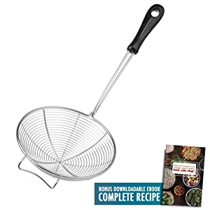 "Asian Spider Kitchen Strainer 6.3"" Stainless Steel Cooking Spoon Wire Net Wok Colander Skimmer for Boiling Frying Spiral Mesh Food Strainer Heat Resistant PP Ladle Handle, Food Recipe Ebook Included"
