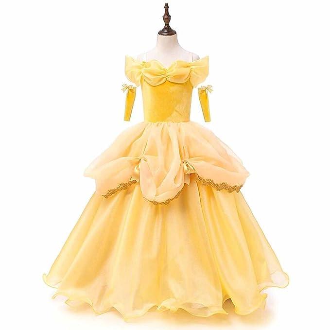 VIPbridal Vestidos de tutú amarillo Belle Princess Girls Cosplay Fiesta de Halloween de Navidad (12