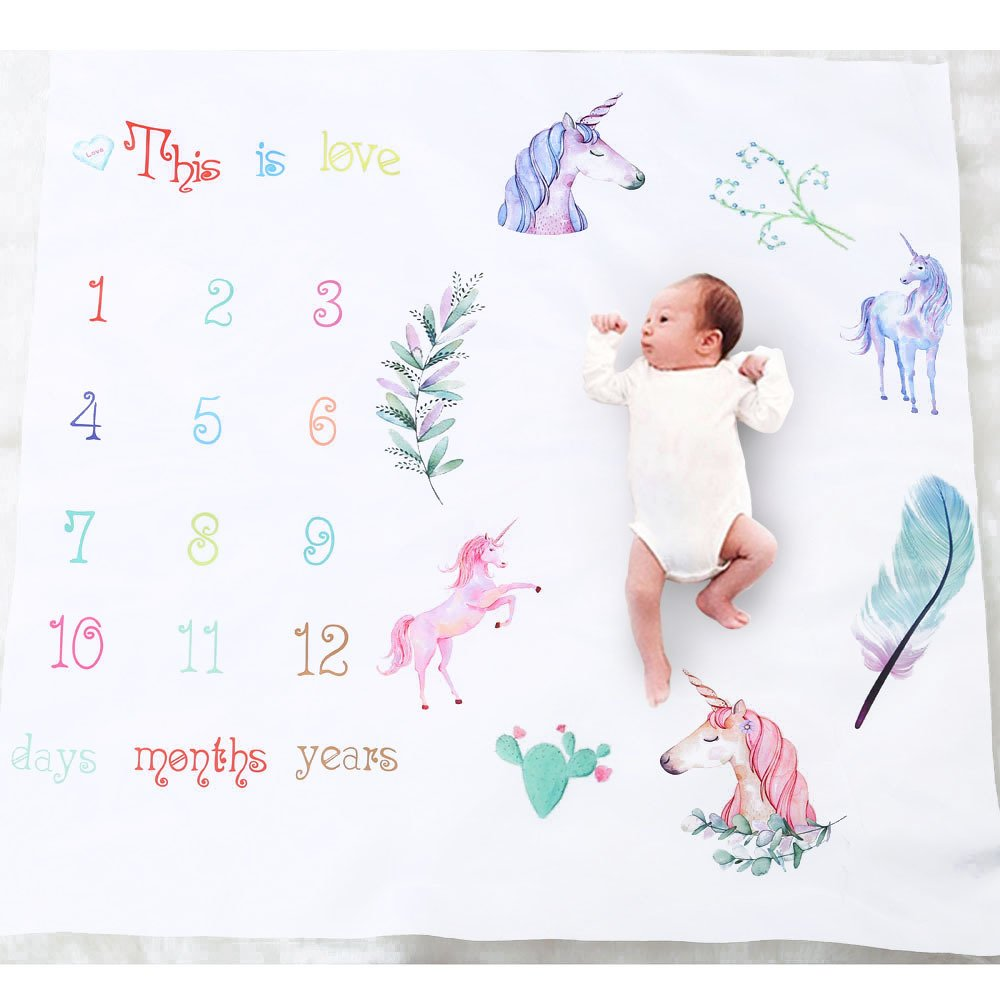 """Baby Monthly Milestone Blanket Newborn Photo Background Props, Baby Swaddling Blanket for Photography-Large 40""""X40"""" Urberry URB180321A"""