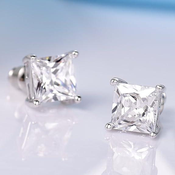 GULICX 7mm Square Zircon Unisex Men Women 925 Sterling Silver Stud Earrings White Clear CZ Q5KD8N