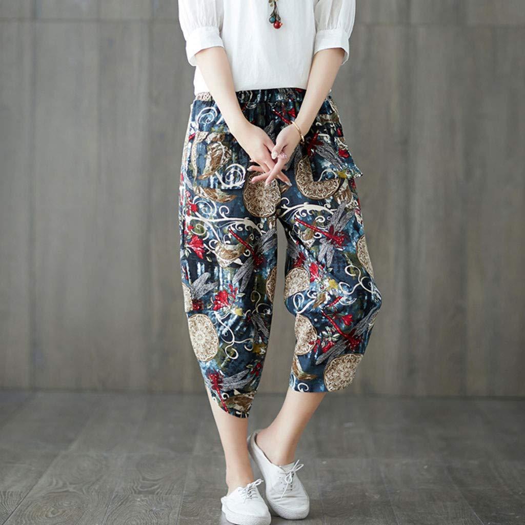 2019 Harem Pants,Women High Waist Vintage Loose Striped Cotton Ankle-Length Capris Trousers by-NWEONESUN