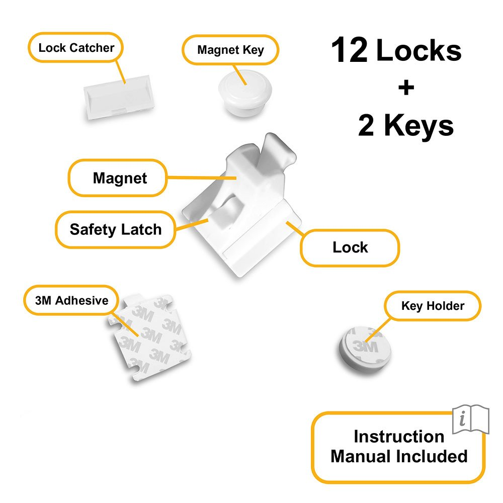Skyla Homes - Magnetic Baby Locks | No Tools Needed - 3M Adhesive | Amazing for Baby Proofing Kitchen & Child Locks | Quality Design | Child Safety | Cabinet Locks | White (12-Pack) by Skyla Homes (Image #4)