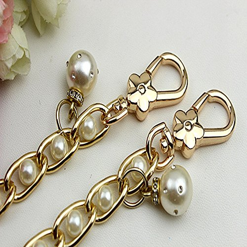 Golden Width 11mm Pearl Metal Chain Tone Mini Purse/Shoulder/Cross Body Bag Replacement Metal Strap For DIY (47 Inch)