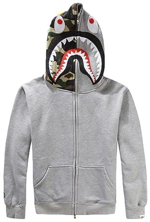 928a92f1aacc EmilyLe Homme Sweat à Capuche imprimé Camouflage et Requin Manches Longues  avec Fermeture éclair Gris EU