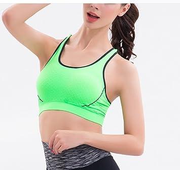 2018 Nuevos Sujetadores Deportivos Estereotipos Fitness Yoga Sin Llantas Sujetador Deportivo VestGAOXP (Color : Verde