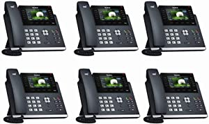 Yealink [6-Pack] T46S IP Phone, 16 Lines. 4.3-Inch Color LCD. Dual-Port Gigabit Ethernet, 802.3af PoE, Power Adapter Not Included (SIP-T46S-6)