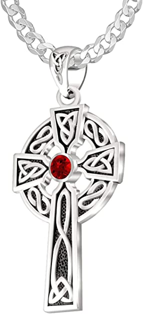 US Jewels And Gems 1.5in 0.925 Sterling Silver Synthetic Ruby Irish Celtic Knot Cross Pendant Necklace