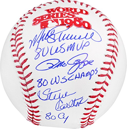 1980 World Series Mvp (Pete Rose, Steve Carlton & Mike Schmidt Philadelphia Phillies Triple Autographed 1980 World Series Baseball with