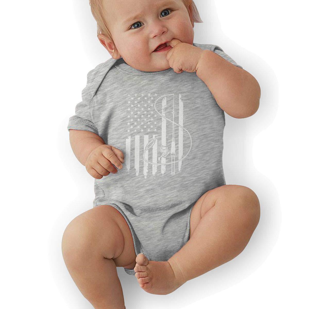 Dfenere Fishing and Fish Flag Hip Hop Newborn Baby Short Sleeve Bodysuit Romper Infant Summer Clothing