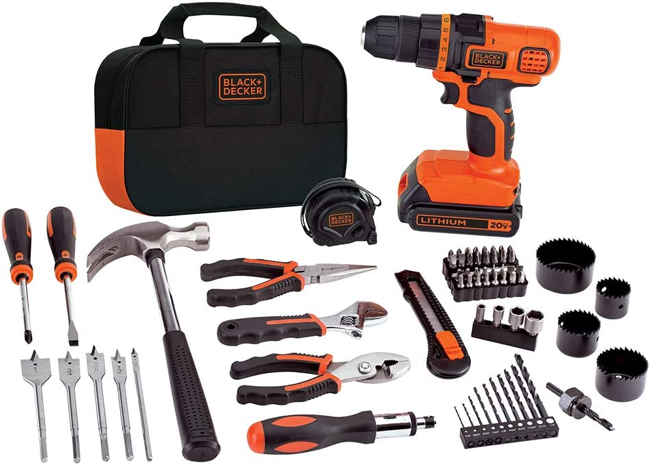 BLACK+DECKER 20V MAX Drill & Home Tool Kit, 68 Piece (LDX120PK),Black/Orange: Home Improvement