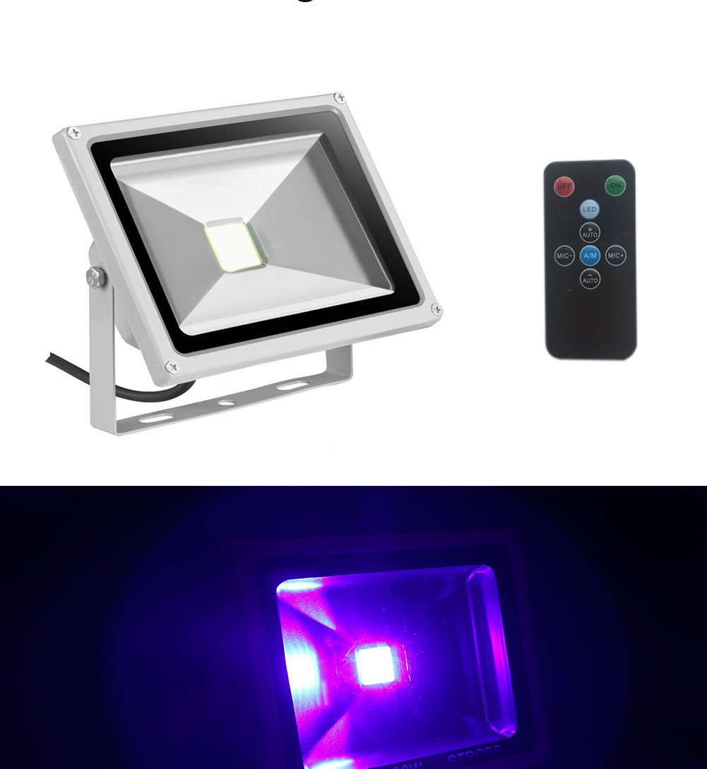 UV Led Light Blacklight 20W Ultraviolet UV Strobe Lights with Remote Auto Lighting Vioce Control Waterproof for Neon Glow Blacklight Parties Stage Light Fishing, Aquarium, Curing by Apatner (Image #2)