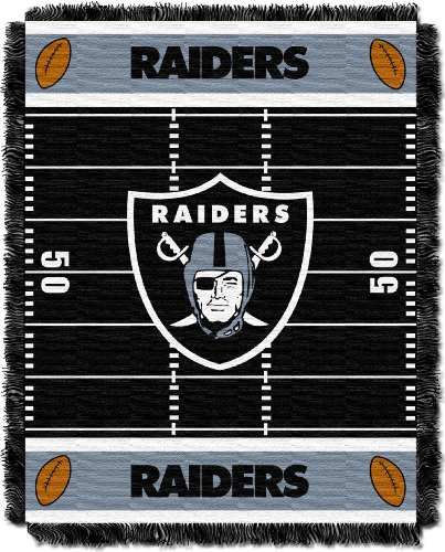 The Northwest Company Officially Licensed NFL Oakland Raiders Field Bear Woven Jacquard Baby Throw Blanket, 36