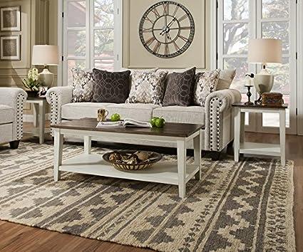 amazon com classic farmhouse living room coffee table set of 2
