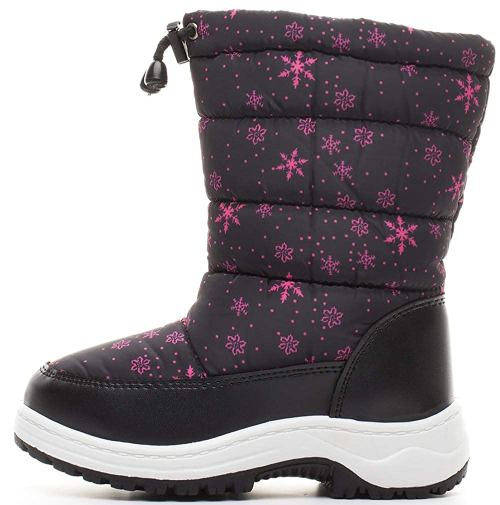 Toddler//Little Kid VECJUNIA Boys Girls Side Zipper Snow Boots Thicken Shoes for Cold Weather