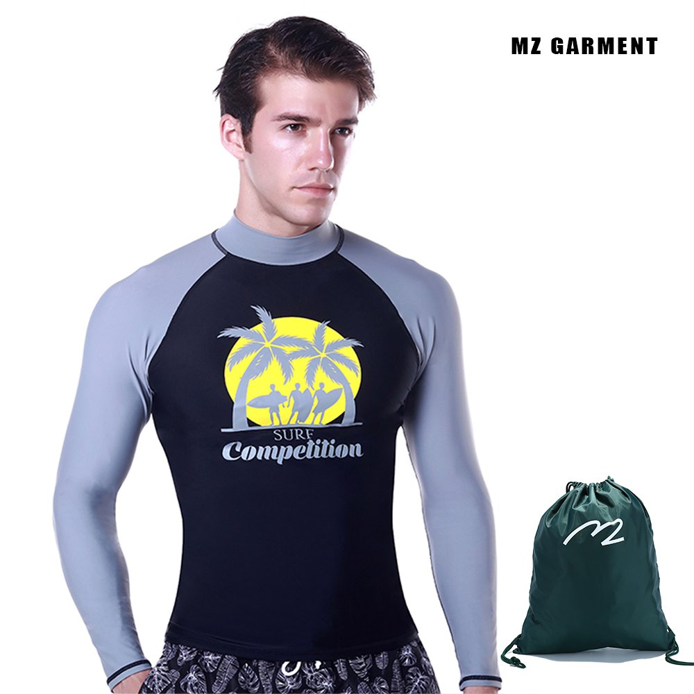 MZ Garment Rash Guard Men UV Sun Protection Basic Skins Long Sleeve Crew Sun Shirt Surfing Shirt MZ Garment Co. LTD