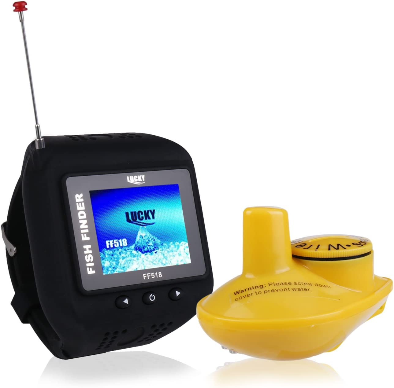 ActionEliters Fish Finder,Wireless Sonar Sensor Fishfinder with Fish Size Location Water Temperature Depth Color LCD Display,for Small Boats Ice Lake Sea Night Fishing