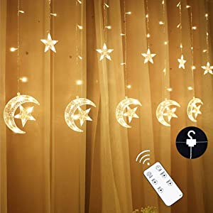 Curtain String Light LED Icicle Light Transparent Strand 8 Modes Waterproof Indoor Outdoor Home Decorative Lights Crescents and Stars (Moon&Star)