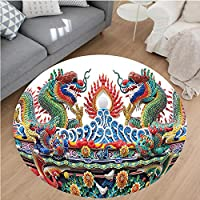 Nalahome Modern Flannel Microfiber Non-Slip Machine Washable Round Area Rug-stern Asian Theme Culture Flame Flowers Decoration Artprint Outdoor Red Yellow Green Blue area rugs Home Decor-Round 36