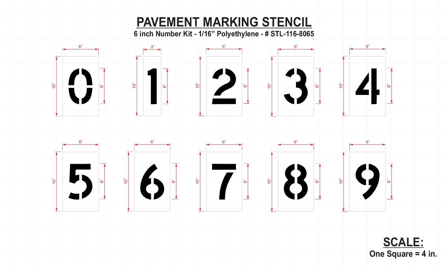 Rae Pavement Stencil, Numbers, 6'', Low Density Polyethylene, 1 EA - STL-116-8060