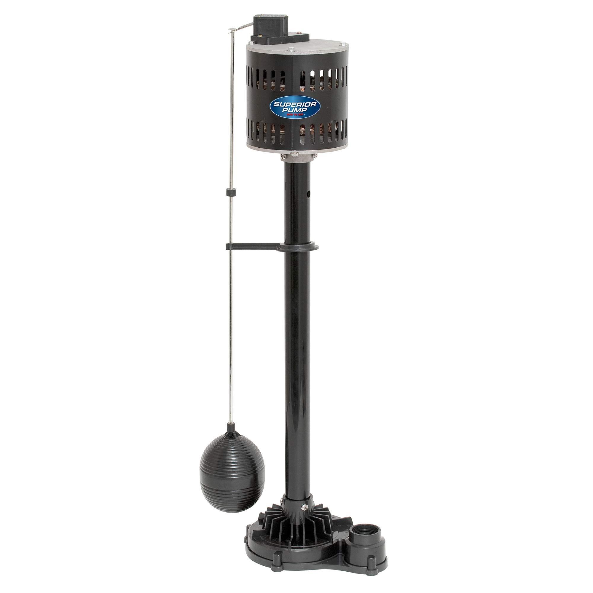 Superior Pump 92333 1/3 HP Thermoplastic Pedestal Sump Pump, Black by Superior Pump