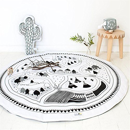 Play Village Car - YEVEM Kids Toddler Village Pattern Cars Play Mat Round Rugs Baby Quilted Play Mats Sleeping Crawling Rug Carpet For Kids Room Decoration (Pattern C)