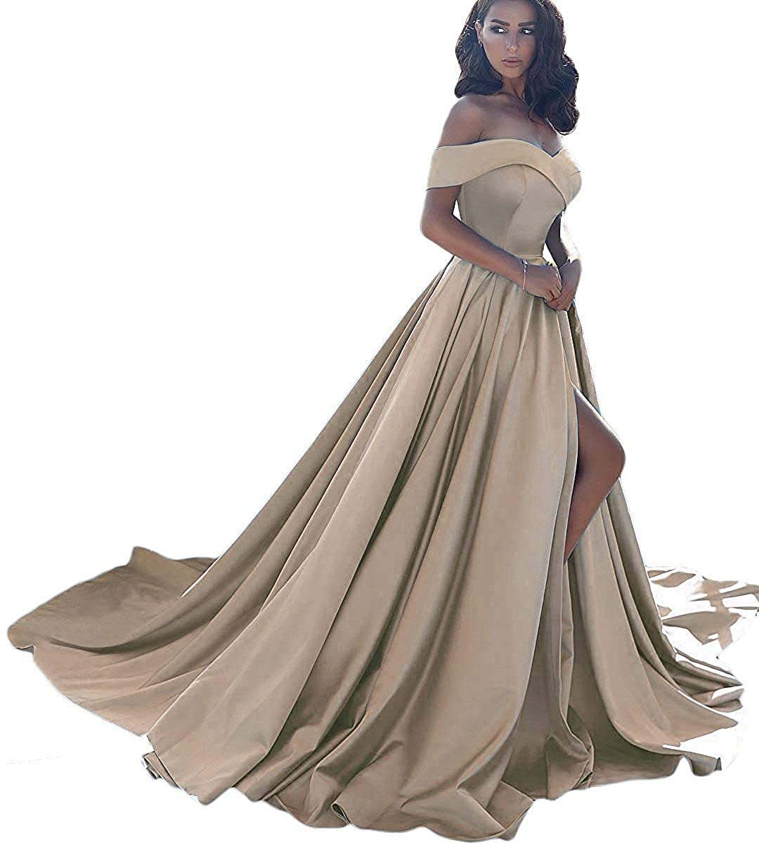 Champagne CongYunGe Women's Off Shoulder Prom Evening Dress Long Satin Formal Gowns with Slit