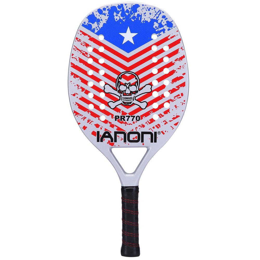 ianoni Beach Tennis Racket,Carbon Fiber Grit Face with EVA Memory Foam Core Beach Tennis Racket (PR770)