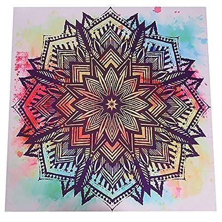 LHGS - Tapiz Cuadrado de Mandala con Estampado Indio Floral ...