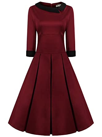 90aa7ad05f6 ReoRia Women s 1950s 3 4 Sleeve Flattering Elegant 50 s Retro Party  Cocktail Swing Dresses Burgundy