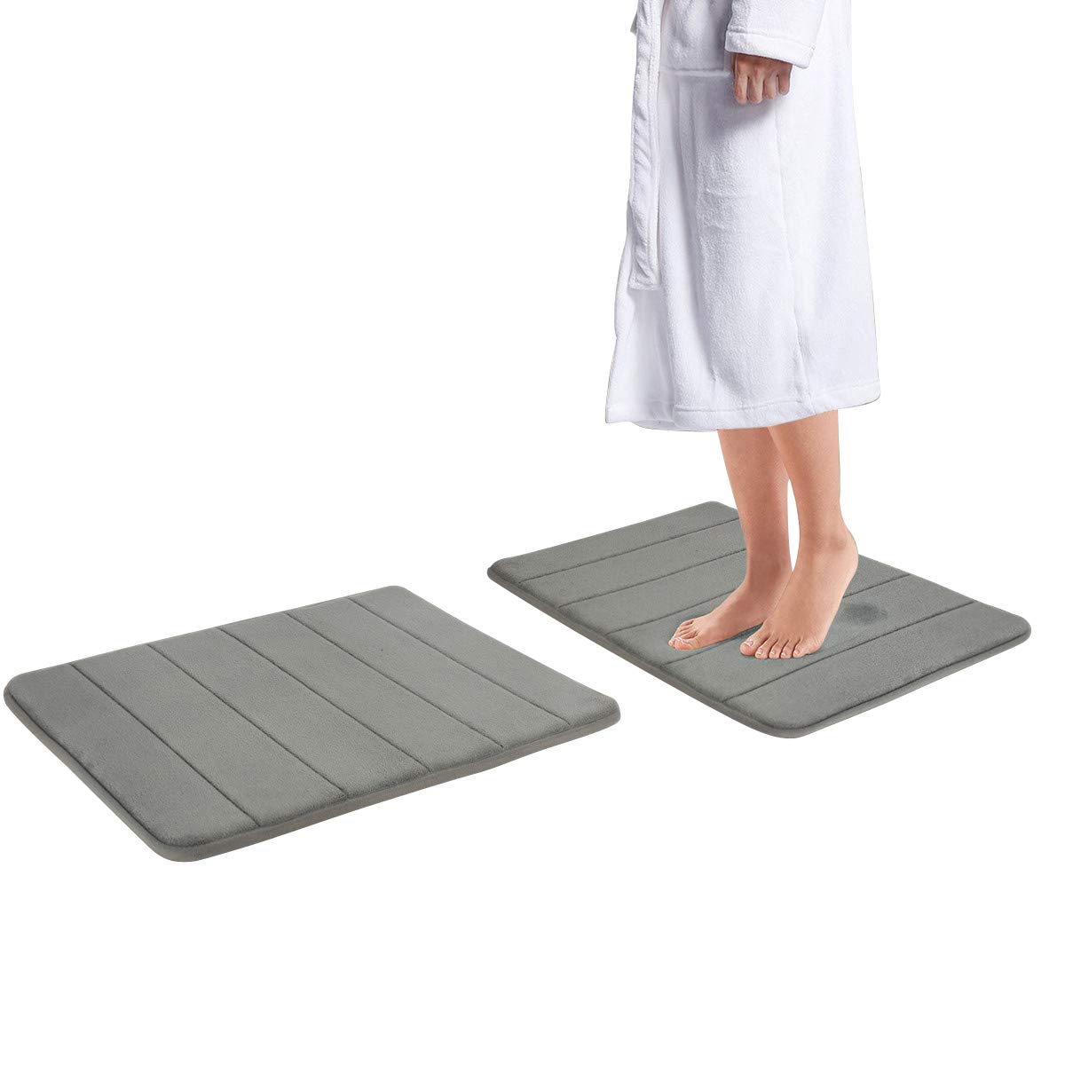 Drhob 2Pcs Gray 17''x 24'' Non Slip Coral Velvet Bathmat Absorbent Bath Rugs Memory Foam Bath Mats with Anti-Skid Bottom