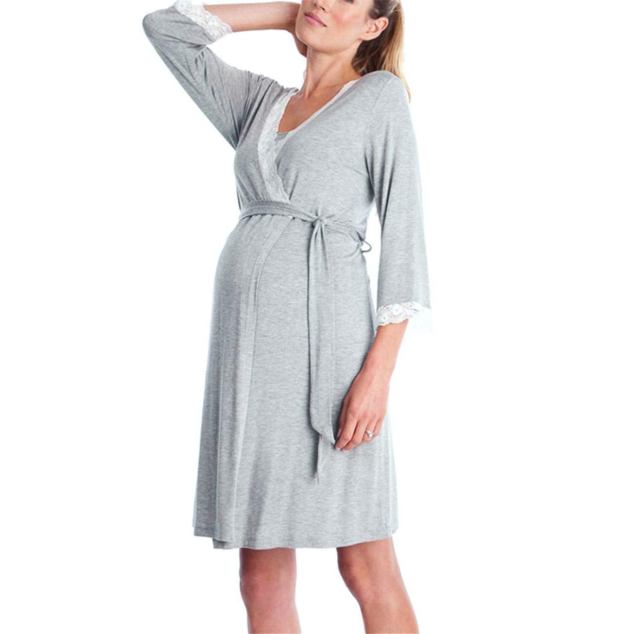 Premam/á Invierno Leggins Abrigos Encaje para Mujer Embarazadas Beb/é Informal De Lactancia para Maternidad Pijamas Vestido De Noche Rob