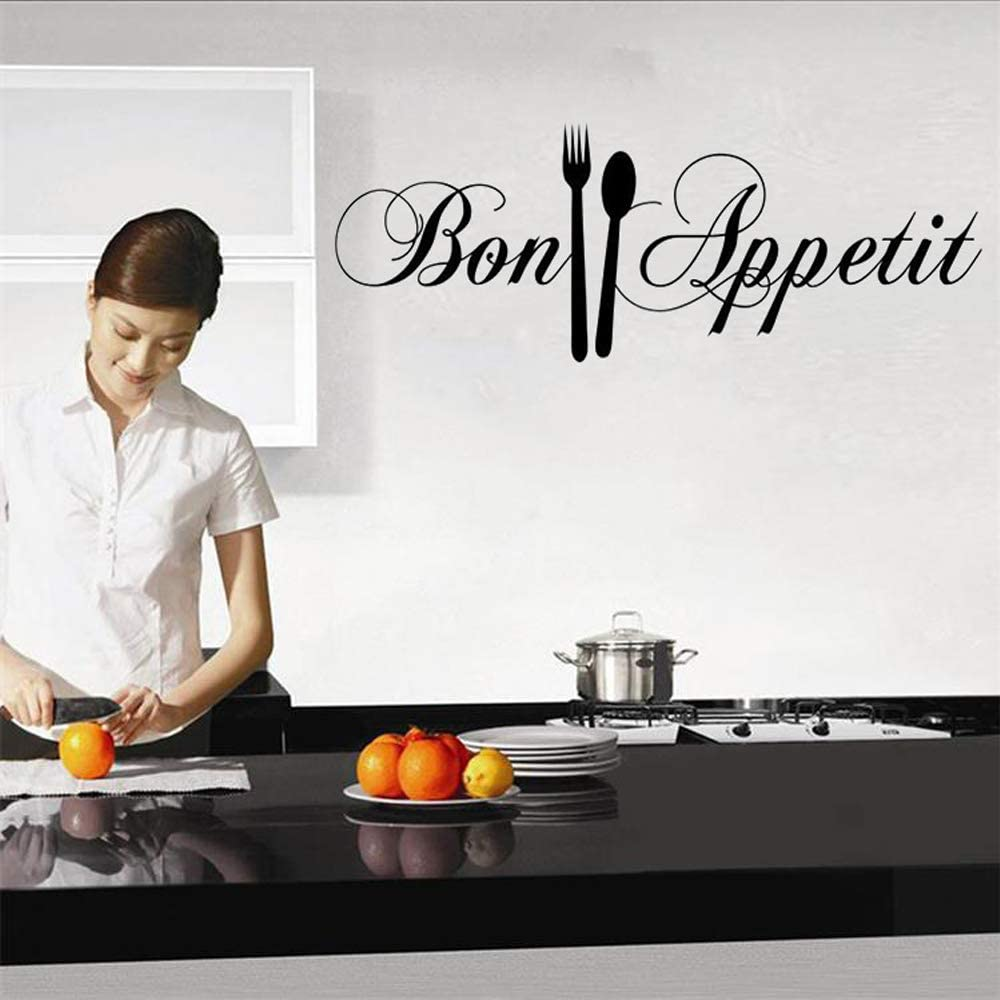 YINASI PVC Removable Wall Stickers, French Bon Appetit Quote with Folk and Spoon Kitchenware Wall Decal Kitchen Home Decor DIY Vinyl Adhesive Decoration for Kitchen Dinning Room 58X18CM