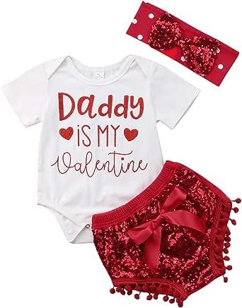 Newborn Baby Girls Valentine's Day Outfits Daddy is My Valentine Romper Bodysuit Sequin Shorts Headband Set 0-24M