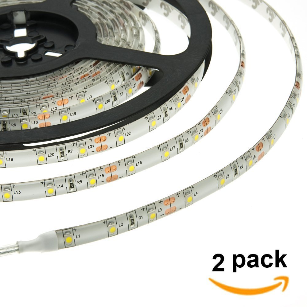 HERO-LED 5M300SAW-NW LED Strip Tape Light, 5M 16.4FT 1800LM 12V DC 24W IP65 LED Tape, Natural White 4000K, 2-Pack